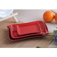 日式仿瓷餐盘子碟子红黑两色仿瓷塑料盘子 长方形盘子8080-8083