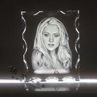 水晶内雕相片摆台 私人定制水晶摆台 记忆水晶摆台