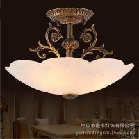 云石灯 全铜吸顶灯 欧式美式半吸顶灯 玄关过道餐厅卧室灯具