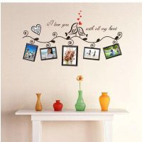 照片背景墙 照片框搭配  640B黑色爱情鸟 照片墙贴批发