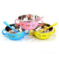正品带手柄勺子宝宝专用不锈钢碗 卡通隔热碗不锈钢吃饭碗TZ-8810