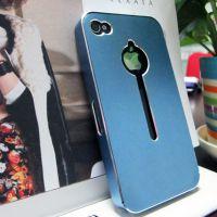 苹果4手机壳 新款推拉款钥匙孔超薄镂空金属保护套 苹果5手机外壳