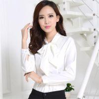 厂家订做秋冬装长袖蝴蝶结白色衬衫职业打底衫韩版修身多款式衬衫