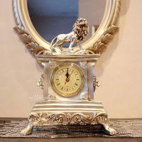 【凡尔赛I+】欧式奢华镀银树脂摆件雄狮座钟别墅装饰品