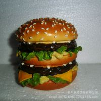 树脂工艺品汉堡名片夹 欧式办公家具精品摆件 卡通桌面摆饰
