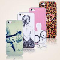 潮款彩绘皮纹手机壳  苹果5代卡通手机套 iphone5透明系列保护套