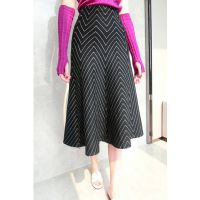 秋冬新款 高腰 黑白波浪纹针织半身裙长裙包臀裙鱼尾裙