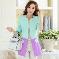 2014秋装新款韩版女式小西装 修圆领身撞色小西服外套