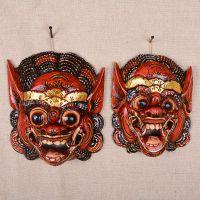 泰国实木工艺品 泰式家居壁挂挂件饰品  创意雕刻彩绘 面具 脸谱