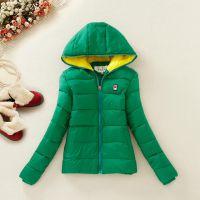 素颜 2014冬装新款纯色连帽经典修身款时尚棉衣 女式外套