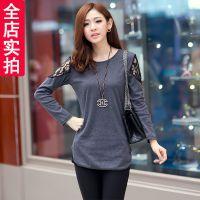实拍8198#秋装韩版新款女装蕾丝拼接长款修身长袖打底衫T恤