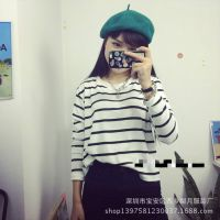 供应包邮 2014秋装女t恤长袖运动t恤女条纹百搭短款打底衫韩国订单款