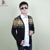 秋冬季爆款男装新款针织开衫 长袖男式针织衫 韩版拼接男士针织衫