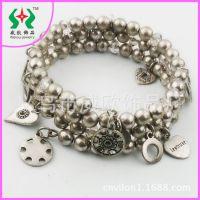 【穿珠手链】欧美时尚天然水晶百搭质感金属合金挂件手链外贸饰品