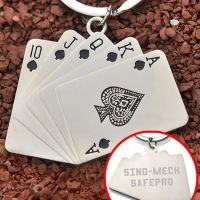 全民疯抢!同花顺扑克牌创意钥匙扣男士个性定制锁匙扣可印logo