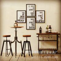 美式乡村仿古铁艺实木做旧桌椅复古旋转高腿吧台吧椅圆桌餐桌