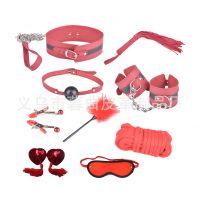 情趣皮革用品新款 红色PU 9件套 成人用品 游戏套装 代发