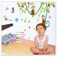【厂家直销】 AY9012 小猴子绿藤无白边 可移 PVC透明膜 墙贴