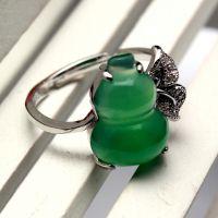 厂家批发特价绿玉髓葫芦镶嵌925银精美活口玛瑙戒指特色精品
