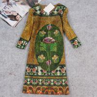 XX3003欧洲女装秋冬季新款重色小开袖小V字领七分袖绿色连衣裙