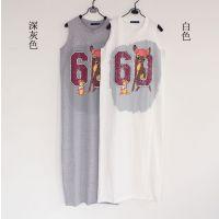 14年夏季新品女装长T恤裙 圆领无袖时尚印花长裙 修身连衣裙