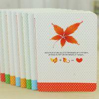 韩版创意文具 时尚简约 枫叶小波点A6圆角记事本 笔记本