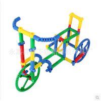 3C认证管状积木 塑料益智积木桌面玩具早教拼装带轮子创意造型