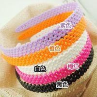 4036 韩国流行蕾丝发箍 宽边网花头箍 高弹力梅花糖果色发饰