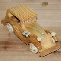 厂家直销原木色老爷车摆件木质工艺品礼物/玩具8寸