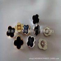 厂家直销 diy服饰辅料花形纽扣 塑料电镀金色银色 滴塑扣子批发