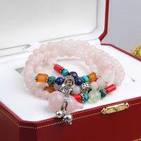 S925纯银马达加斯加粉水晶 葫芦晶手串 纯天然粉晶手链批发