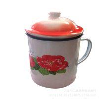 厂家直销 搪瓷茶杯批发 中式怀旧经典搪瓷杯 搪瓷印花杯
