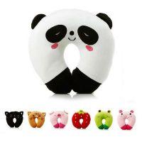地摊热卖 厂家直销 创意礼品卡通熊猫U型颈枕 汽车护颈枕毛绒玩具