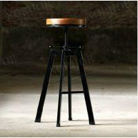 美式乡村风格复古防锈做旧铁艺吧台椅 实木酒吧椅子 旋转升降吧椅