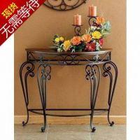 特价欧式家具铁艺玄关柜门厅柜 餐厅边柜玄关台 实木半圆桌墙边桌