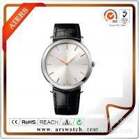 AIRS钟表厂家订制优质防水黑色真皮不锈钢情侣瑞士品牌手表批发