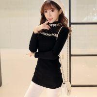 实拍 打底衫2014秋冬新款韩版修身套头花朵针织衫女毛衣外套