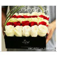 永生花盒 鲜花礼盒 玫瑰花速递包装盒 精致方形盒 开盖纸盒
