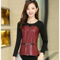 2014秋装新款韩版女装 PU皮拼接网纱打底衫长袖女T恤