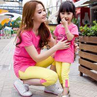 亲子装2014新款纯棉糖果色长T恤 打底裤公主套装母女装童装