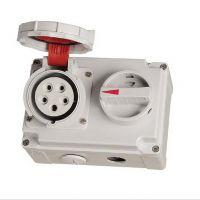 供应国际标准IP67带开关和机械连锁 五孔连锁开关插座