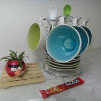 裂纹釉咖啡杯碟生产厂家  陶瓷餐具礼品套装 欧式咖啡杯碟套装