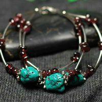 高雅气质女人多层双色 精致复古时尚创意三层绿松石手链