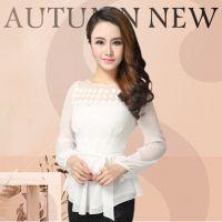 2014秋装新款大码女装白色雪纺衫衬衣上衣长袖衬衫修身雪纺打底衫