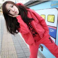 2012韩版字母加厚大码 抓绒运动服休闲卫衣套装三件套装 624238