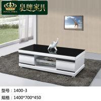 M06家具厂家直销黑色茶几玻璃茶几板木结合高档客厅茶几1400-3黑