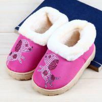冬季卡通童鞋毛毛鞋儿童款加厚保暖包根棉鞋室内家居儿童棉拖