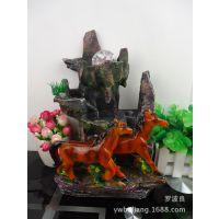 树脂工艺品摆件 山水盆景 双马风水轮流水喷泉 马到成功马年礼品
