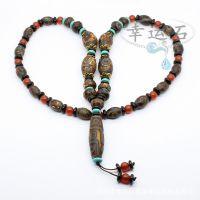 藏式天眼天珠 复古色三眼九眼子母米珠老风化玛瑙项链批发 仿古色