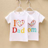新款儿童春款短袖T恤 咕咕屋纯棉夏款 字母我爱爸爸妈妈韩版童装